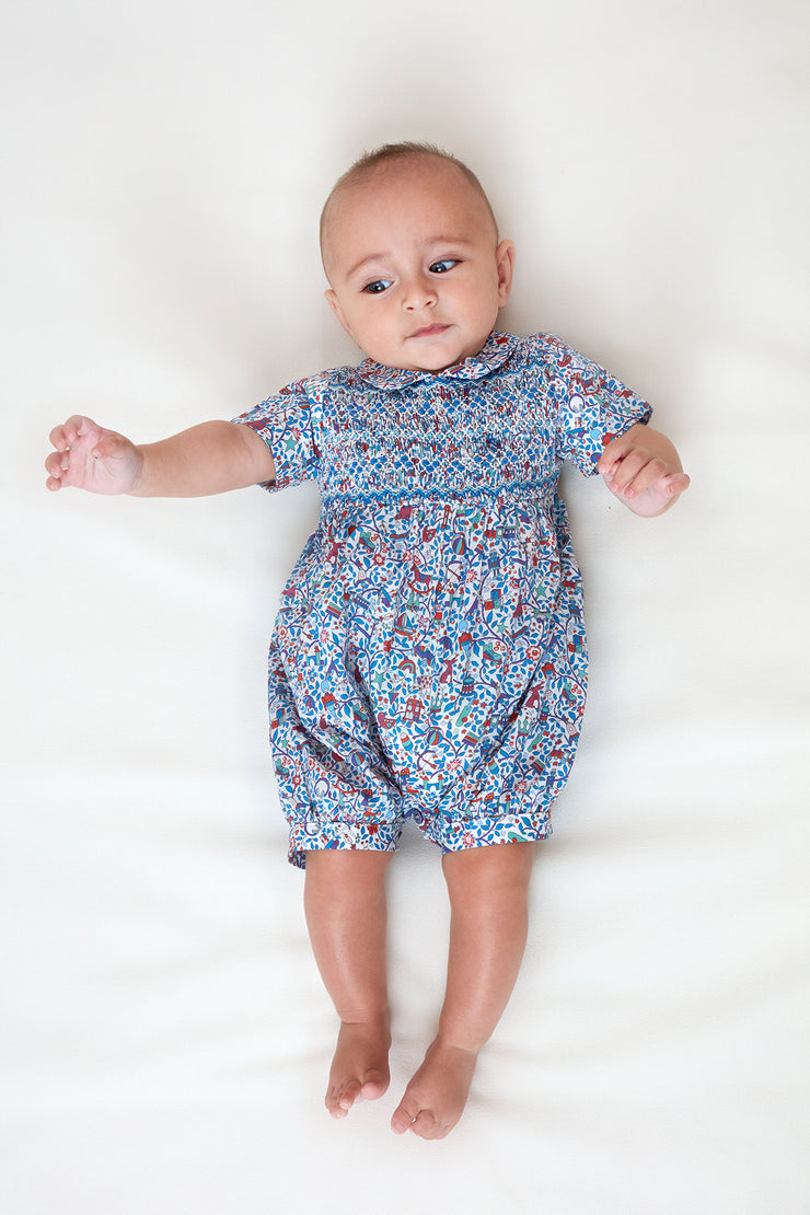 Baby Boy - Francesco 100% Cotton Romper With Smocked Detailing