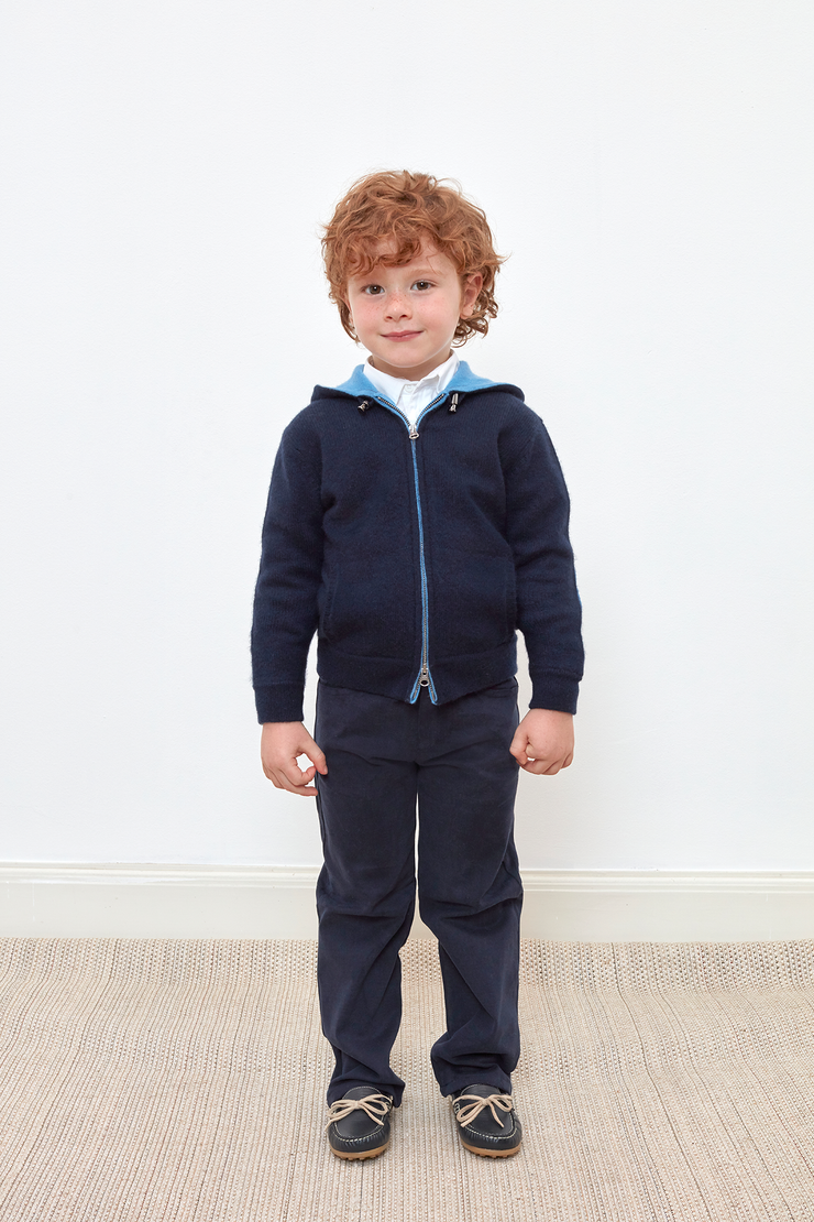 Boy - Manu 100% Cashmere Cardigan Hoodie With Elbow Patches