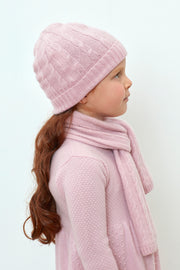Girl - Peyton 100% Cashmere Cable Knit Hat And Scarf Set