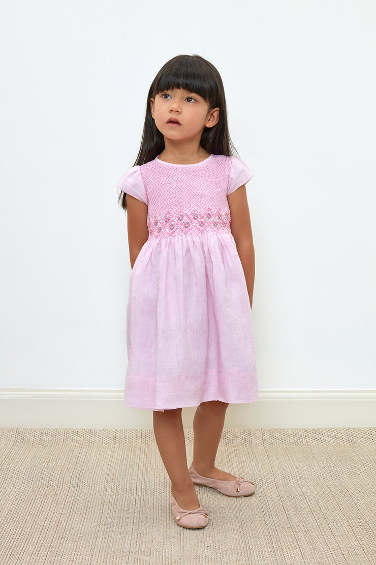 Girl - Camilla 100% Linen smocked dress