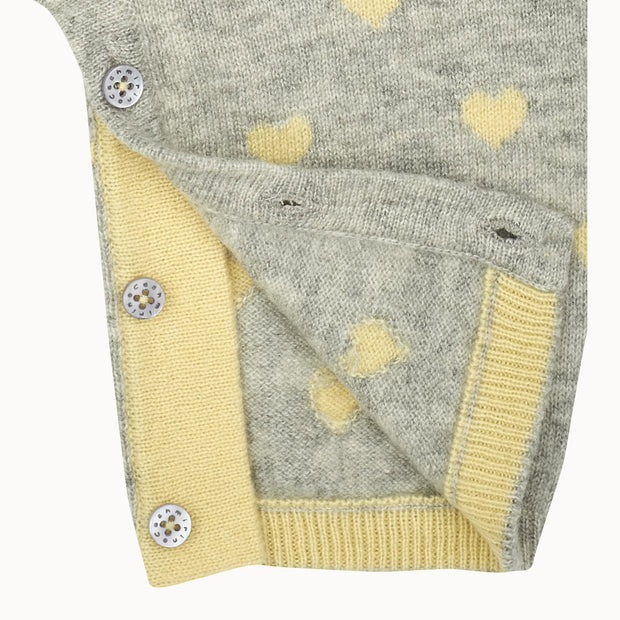 Baby Girl Cashmere Romper With Contrasting Intarsia Heart Detail