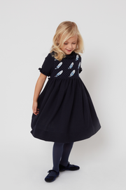 Girl - Aria Hand Embroidered 100% Wool Midi Dress With Feather Detail