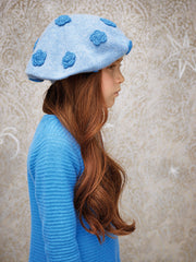 Girl - 100% Cashmere Beret Hat With Contrasting Crochet Rose Detail