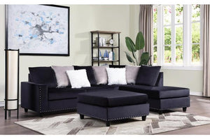 Black Velvet Reversible Sectional Sofa