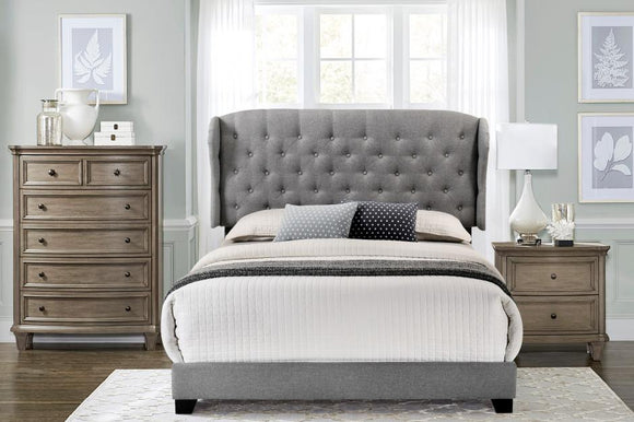 Grey Queen or King Upholstered Bed Frame