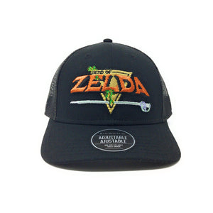 Bioworld Licensed The Legend of Zelda Link Sanded Canvas Black Curved Brim Trucker Hat