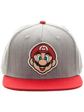 Load image into Gallery viewer, Bioworld Licensed Super Mario Bros. - Mario - Rubber Sonic Weld - Grey/Red Snapback Hat