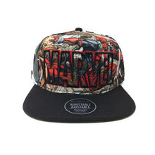 Load image into Gallery viewer, Bioworld Licensed Deadpool Marvel Logo Allover Sublimated Crown Black Snapback Hat