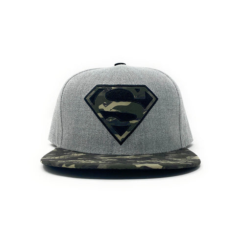 Superman Green Camouflage Logo and Brim Grey Snapback Cap