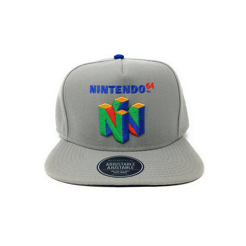 Bioworld Licensed Nintendo 64 3D Retro Logo Grey Snapback Hat