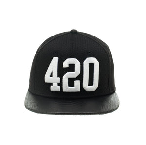 Bioworld 420 Jersey Crown With Snakeskin Brim And Weed Leaf Under Brim Black Strapback Hat