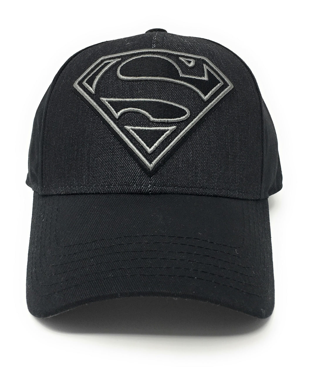 Superman - Black Denim Logo Over Twill Patch Black Snapback