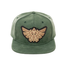 Load image into Gallery viewer, Bioworld Licensed The Legend Of Zelda Distressed PU Leather With Metal Logo Green Snapback Hat