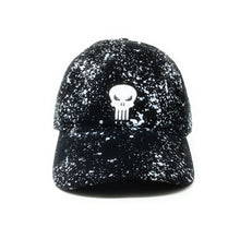 Load image into Gallery viewer, Punisher Logo - Heavy Wash Cotton Twill With Splatter Print - Black Dad Cap Buckle