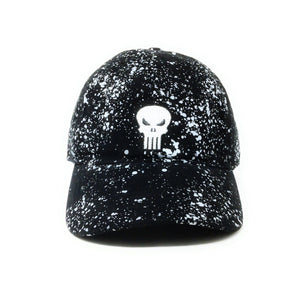 Punisher Logo - Heavy Wash Cotton Twill With Splatter Print - Black Dad Cap Buckle