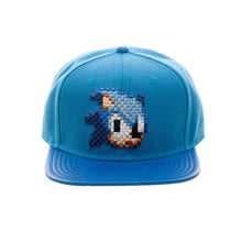 "Load image into Gallery viewer, Bioworld Licensed Sonic The Hedgehog ""Don't Blink"" Pixelated Digital Blue PU Leather Brim Snapback Hat"