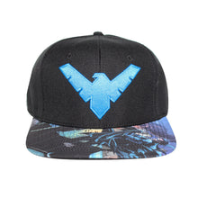 Load image into Gallery viewer, Bioworld Licensed Nightwing Logo Sublimated Brim Snapback Hat