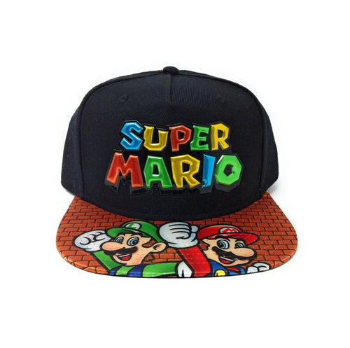 Bioworld Licensed Super Mario Chrome Weld Logo With Sublimated Brim Black Snapback Hat