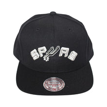Load image into Gallery viewer, Mitchell & Ness Black/White San Antonio Spurs Snapback Cap