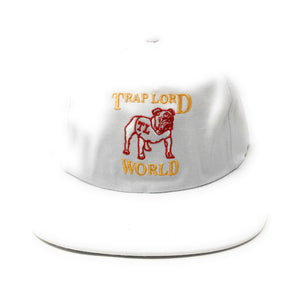 Trap Lord Bulldog White Unstructured Snapback Hat