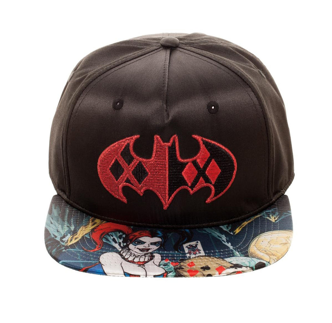 Bioworld Licensed Harley Quinn Black Satin Sublimated Brim Black/Red Snapback Hat