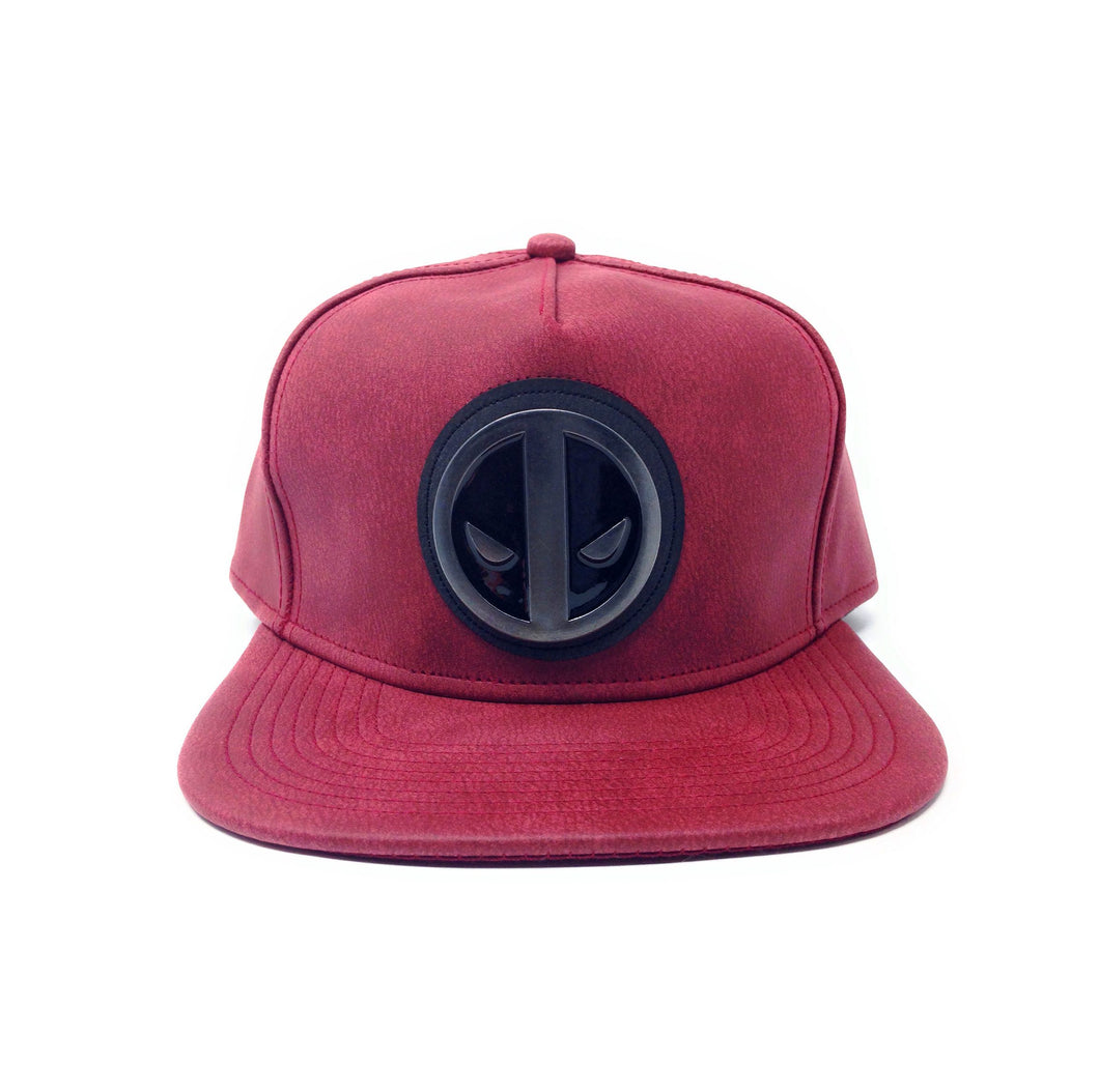 Bioworld Licensed Deadpool 2 Distressed PU Leather Metal Badge Red Snapback Hat