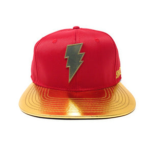 Bioworld Licensed Shazam Metal Weld Logo PU Leather Red/Gold Graphic Underbrim Snapback Hat