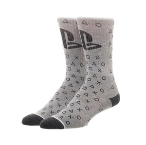 Bioworld Licensed Sony Playstation Logo And Waterprint Button Grey Socks