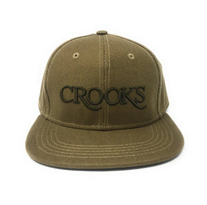Crooks & Castles Serif Faded Olive Snapback Hat