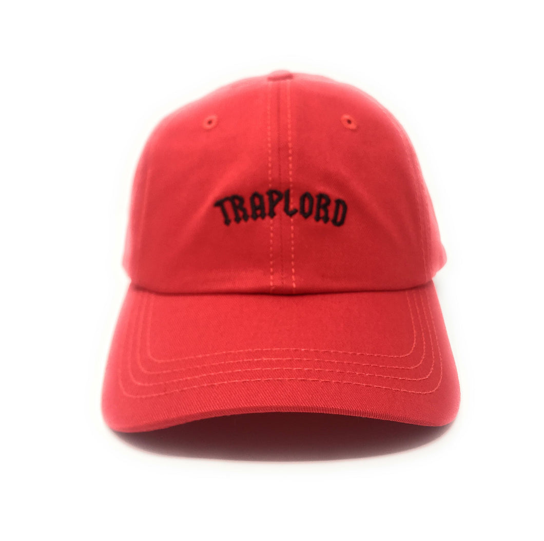 Trap Lord Core Logo Red Unstructured Strapback Dad Hat