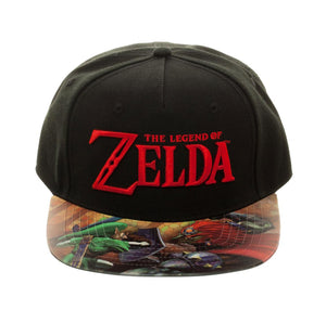 Bioworld Licensed The Legend Of Zelda Logo - Link - Printed PVC Brim Black Velcro Hat