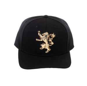 Bioworld Game Of Thrones Lannister Sculpted Metal Logo Black Snapback Hat