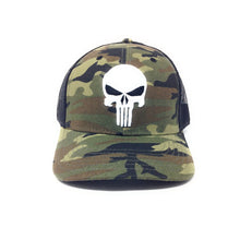 Load image into Gallery viewer, Bioworld Licensed Punisher Logo Embroidery Camouflage Mesh Curved Brim Green/Black Trucker Snapback Hat