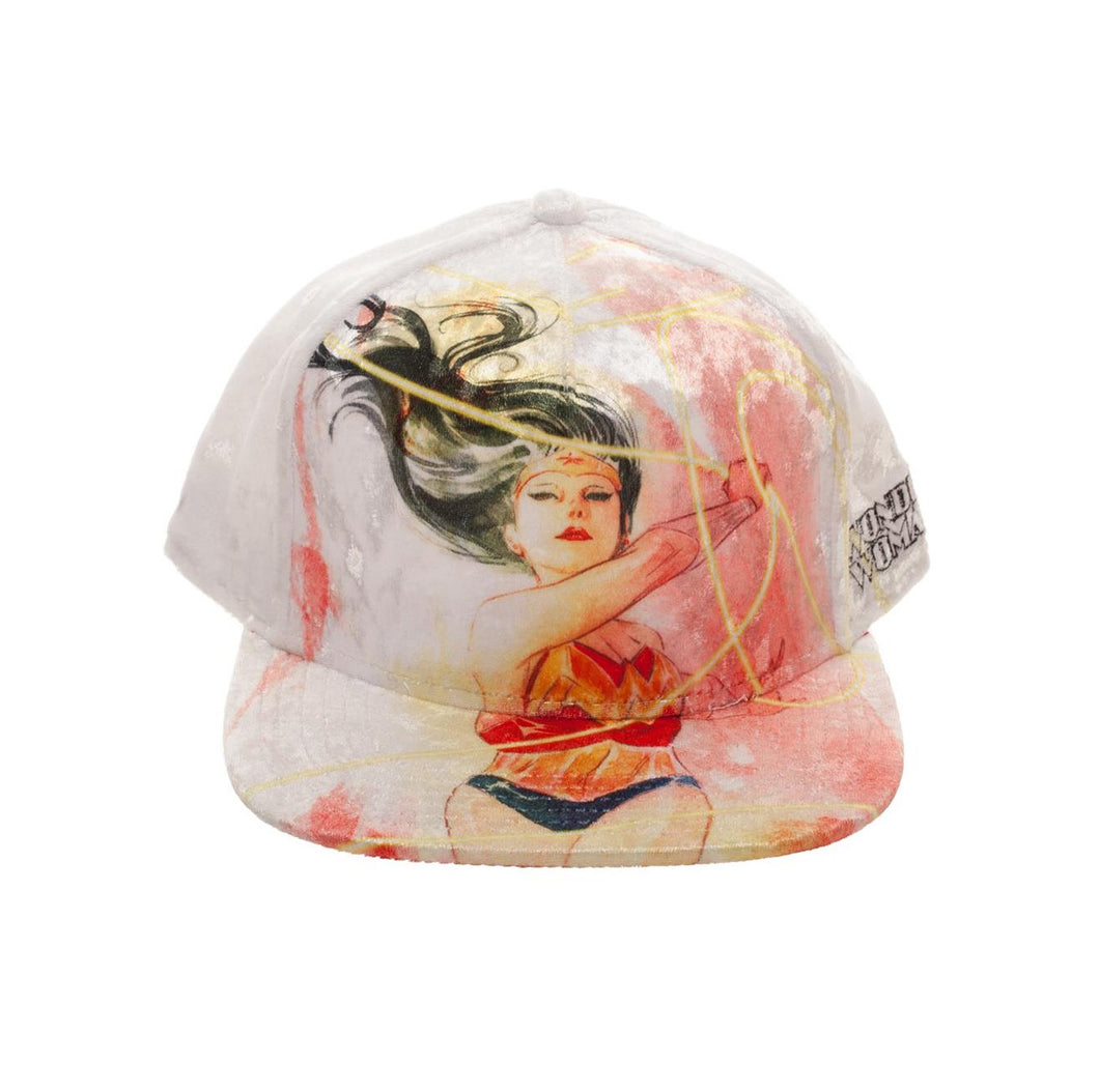 Bioworld Licensed Wonder Woman Velvet Fabric White Snapback Hat