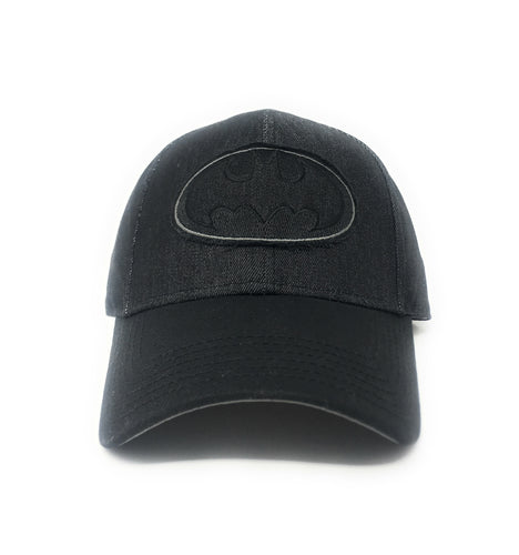 Batman - Black Denim Logo Over Twill Patch Black Strapback Hat