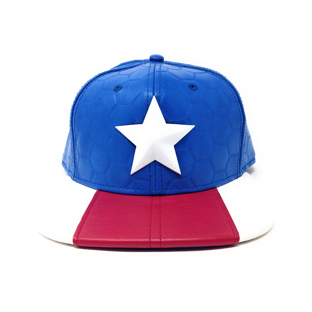 Bioworld Licensed Captain America Now Suit Up PU Leather Blue/Red Snapback Hat
