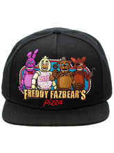 Load image into Gallery viewer, Bioworld Black Licensed Five Nights At Freddy's Fazbears Pizza Snapback Hat