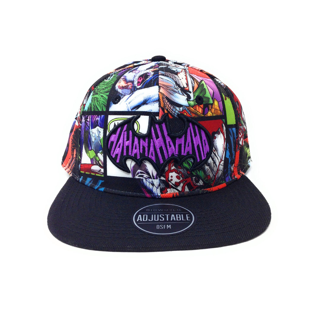 Bioworld Licensed Batman and Joker Black/Purple Graphic Crown Snapback Hat