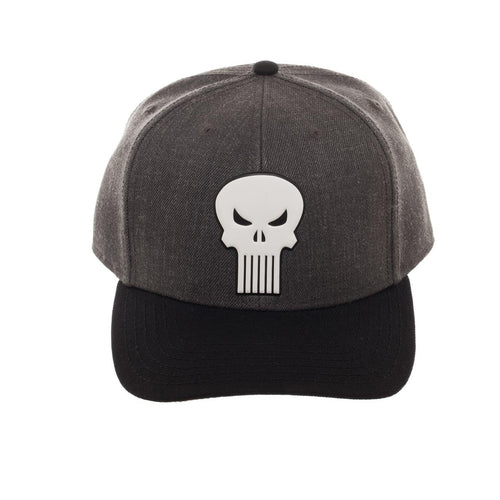 Bioworld Licensed Punisher Embroidery Curved Brim Grey/Black Snapback Hat