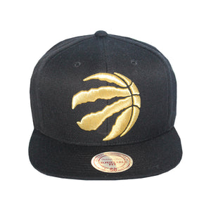 Mitchell & Ness Toronto Raptors Black/Gold Partial Logo Snapback Hat