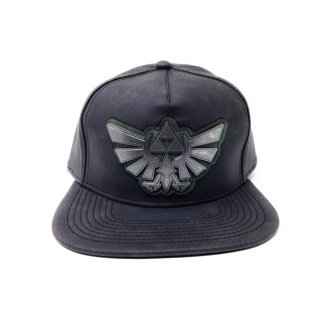 Bioworld Licensed The Legend Of Zelda Distressed PU Leather With Metal Logo Black Snapback Hat