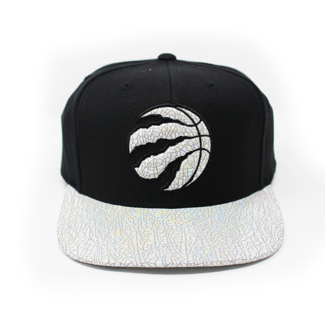 Mitchell And Ness Toronto Raptors Cracked Iridescent Black Snapback Hat