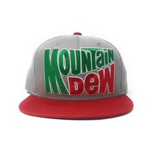 Load image into Gallery viewer, Mountain Dew - Retro Logo Grey/Red Snapback Hat