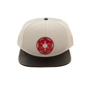 Bioworld Licensed Star Wars Galactic Empire Hoth At-At Driver Metal Badge Logo Grey/Black Snapback Hat