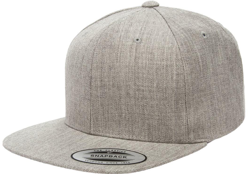Flexfit 6089M Heather Grey Premium Classic Snapback Hat