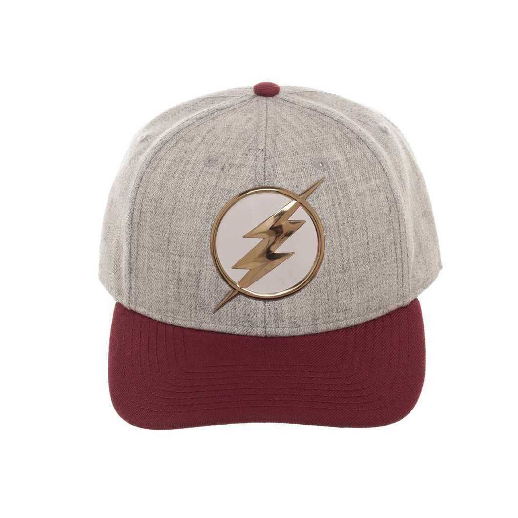 Bioworld Licensed The Flash Chrome Weld Curved Brim Red/Grey Snapback Hat