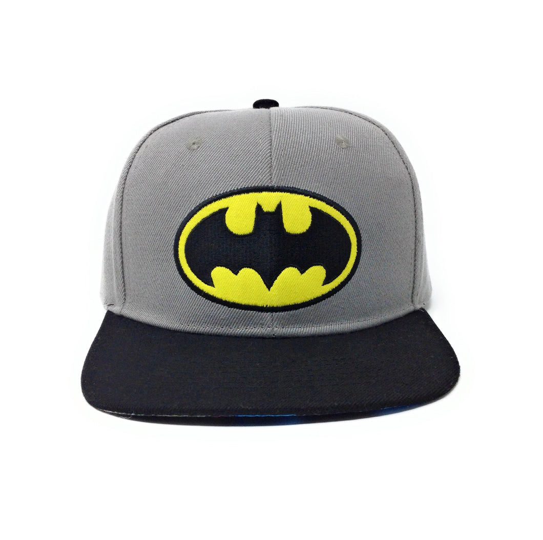 Batman Logo - 3D Embroidery - With Sublimated Graphic Under Brim Grey/Black Snapback Hat