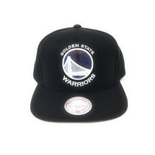 Load image into Gallery viewer, Mitchell and Ness Golden State Warriors Hologram Logo White/Black Snapback Hat