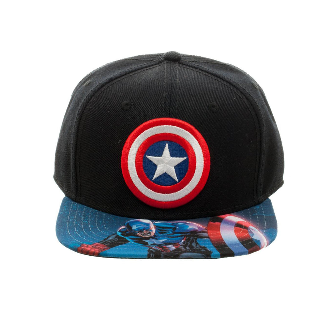 Bioworld Licensed Captain America - Marvel Comics Sublimated Brim Blue/Black Snapback Hat
