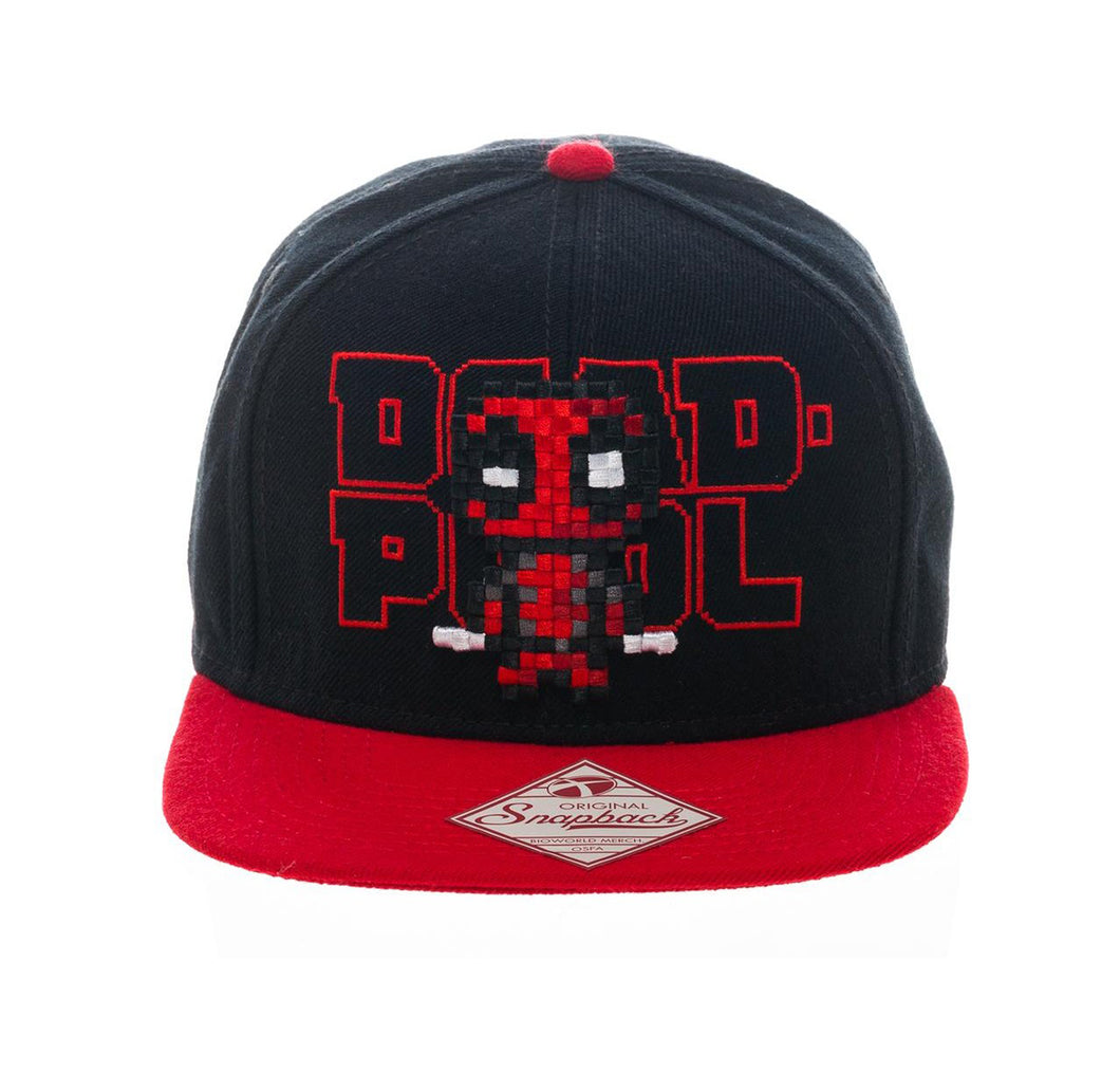 Bioworld Licensed Deadpool - Marvel Comics - Pixel - Black/Red Snapback Hat